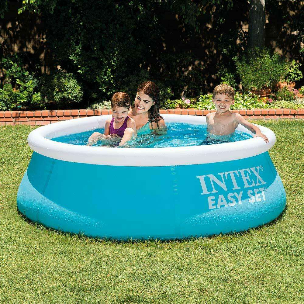 6FT INTEX ROUND INFLATABLE FAMILY SWIMMING PADDLING POOL ...
