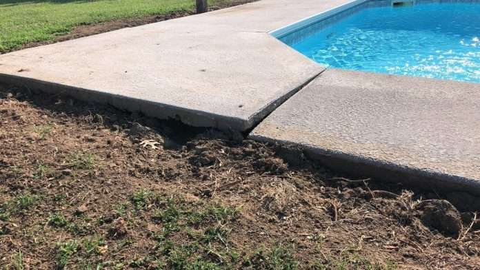 concrete repair polylevel sinking pool deck in haskell