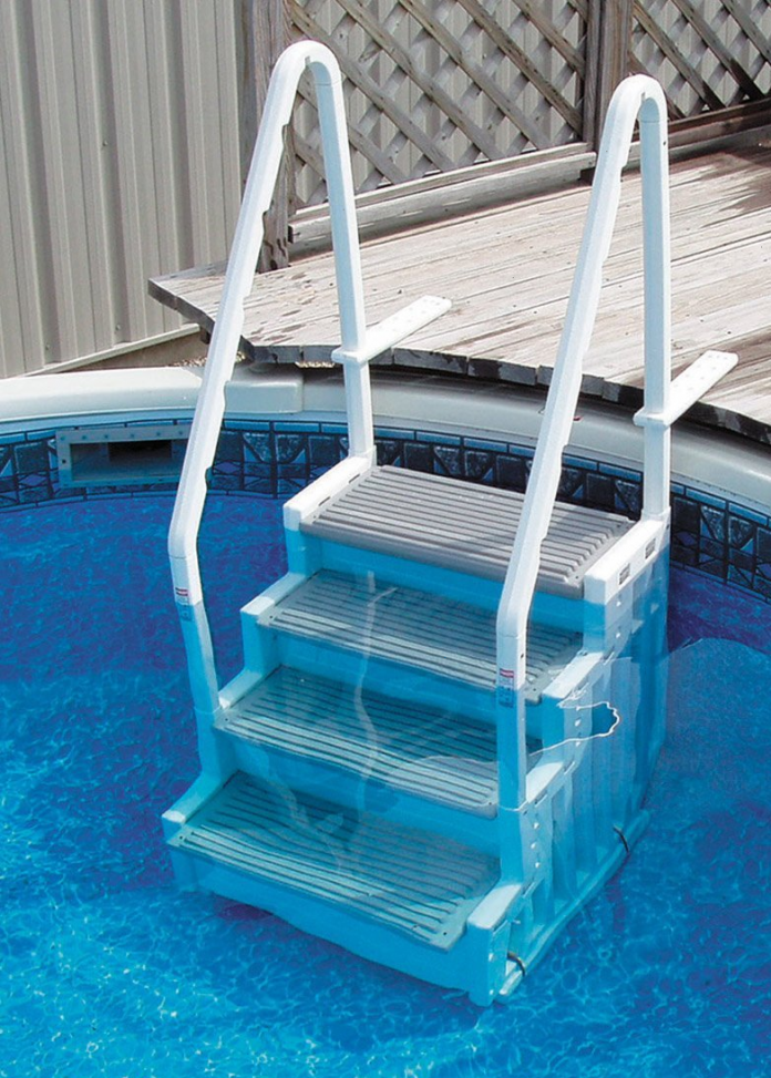 pool ladders sturdy convenient above ground pool deck