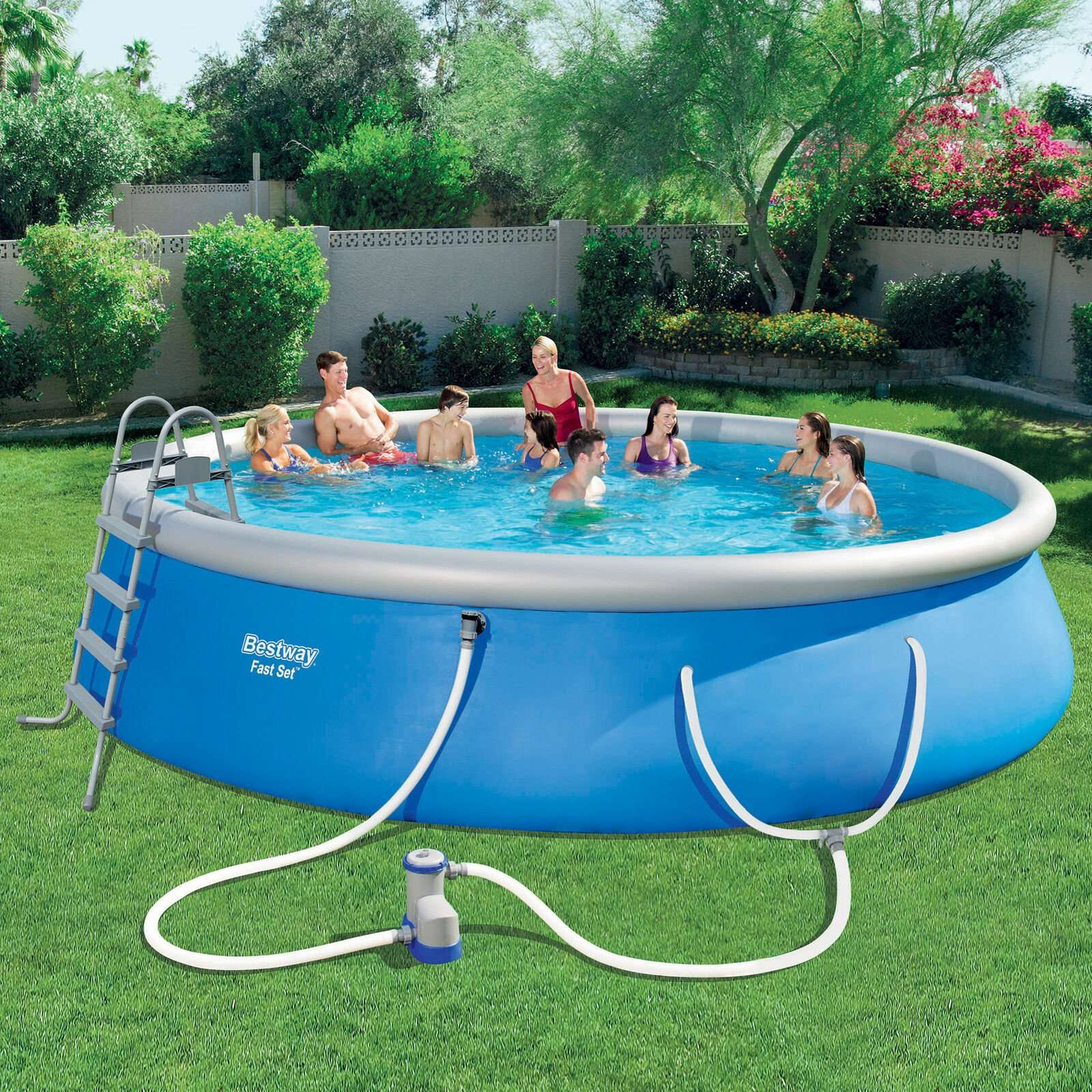 Swimming Pool Set with Pump, Ladder and Cover